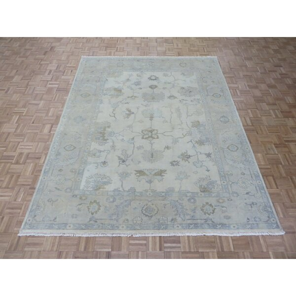 One-of-a-Kind Josephson Tukish Oushak Hand-Knotted Ivory/Gold Area Rug by Canora Grey
