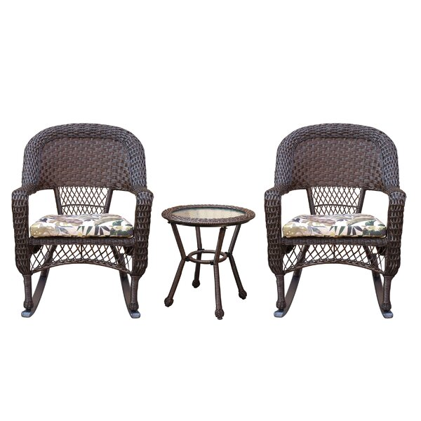 Belwood Resin Wicker 3 Piece Dining Set with Floral Cushions by Bay Isle Home