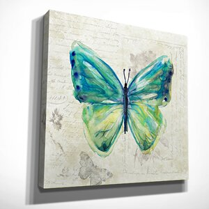 'Butterfly Sketch IV' by Carol Robinson Painting Print on Wrapped Canvas by Wexford Home