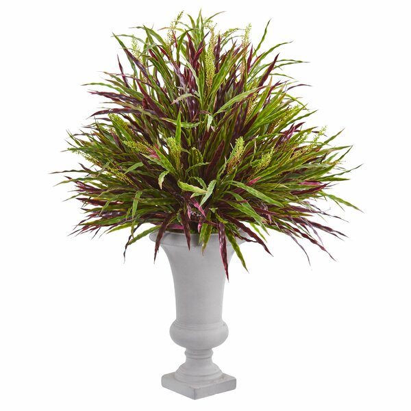 Artificial Floor Burgundy Grass Plant in Urn by Darby Home Co