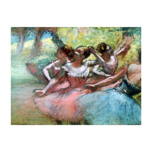 Four Ballerinas on the Stage' by Edgar Degas Painting Print on Rolled Canvas by ArtWall