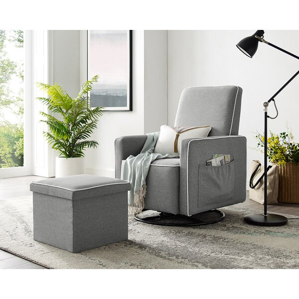Wiggins Upholstered Swivel Glider And Ottoman By Winston Porter