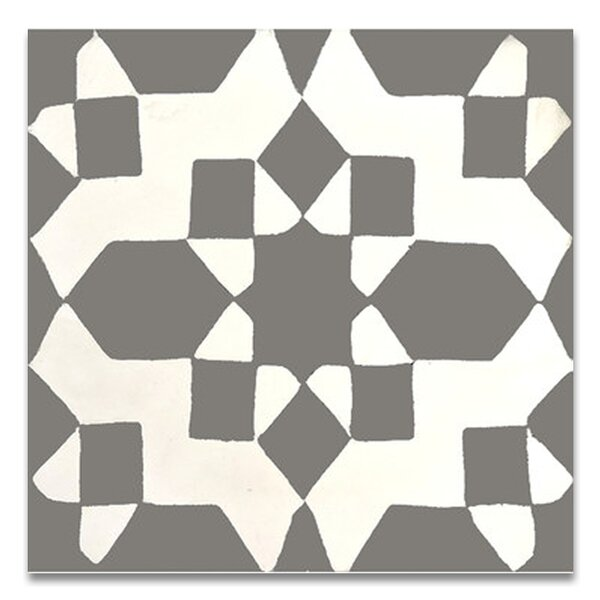 Assila 8 x 8 Handmade Cement Tile in Gray/White by Moroccan Mosaic