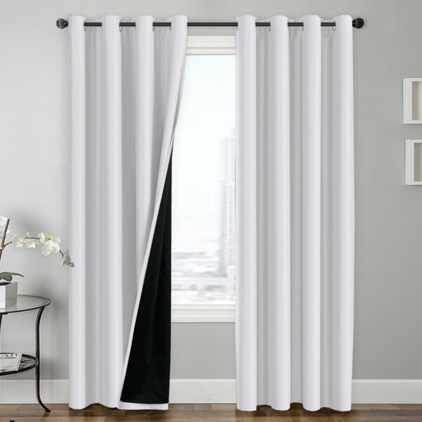 Hosler Insulated Lined Solid Blackout Thermal Grommet Curtain Panels (Set of 2) by Charlton Home