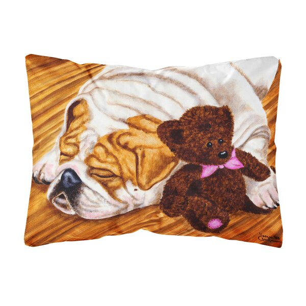 Shotwell English Bulldog and Teddy Bear Fabric Indoor/Outdoor Throw Pillow by Winston Porter