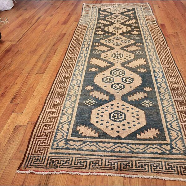 One-of-a-Kind Hand-Knotted 1920s Khotan Blue/Red/Beige 4' x 11' Runner Wool Area Rug