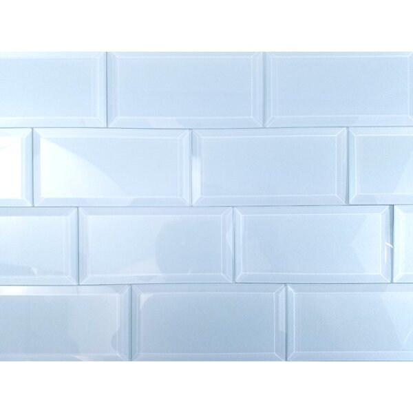 Frosted Elegance 3 x 6 Glass Subway Tile in Glossy Blue by Abolos