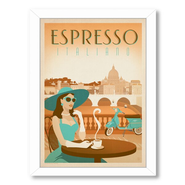 Coffee Espresso Vespa Framed Vintage Advertisement by East Urban Home