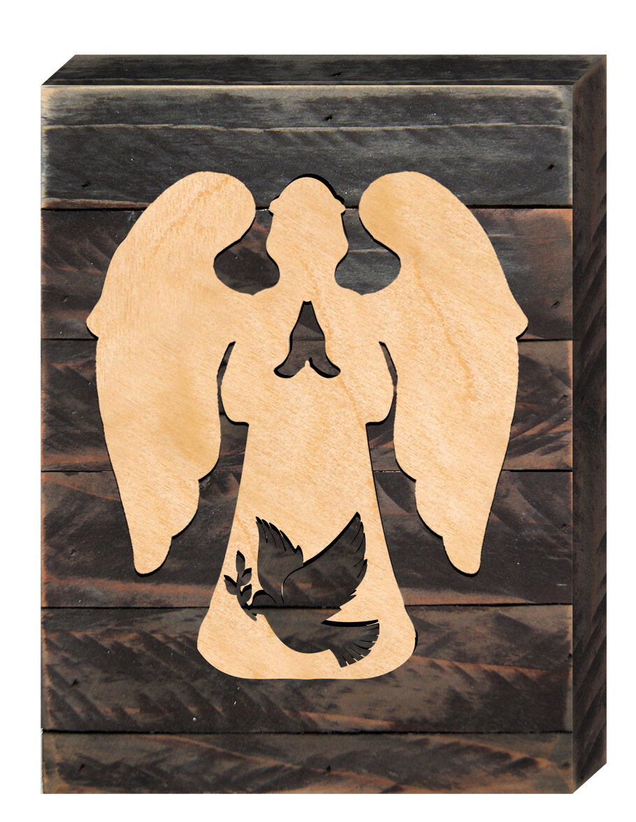 Designocracy Christmas Angel with Dove on Board Wall Décor | Wayfair