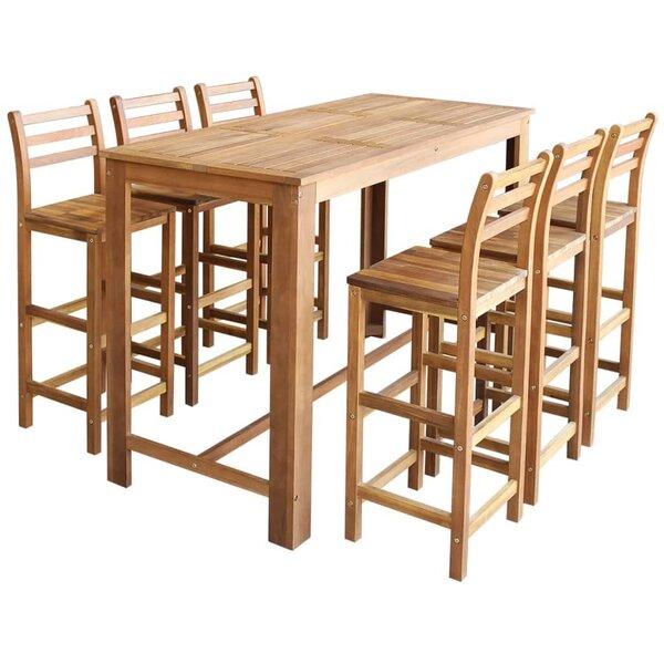 Joy 7 Piece Bar Height Solid Wood Dining Set by Winston Porter Winston Porter