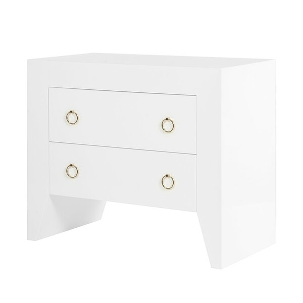 Lacquer 2 Drawer End Table by Worlds Away