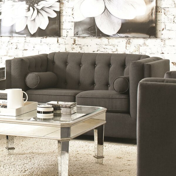 McDougal Modern Chesterfield Loveseat By Three Posts #2