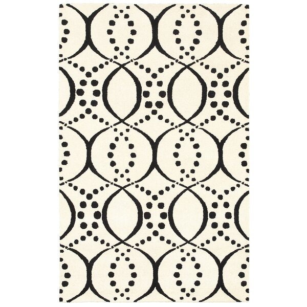 Volos Hand Tufted Wool Black/Cream Area Rug by Meridian Rugmakers
