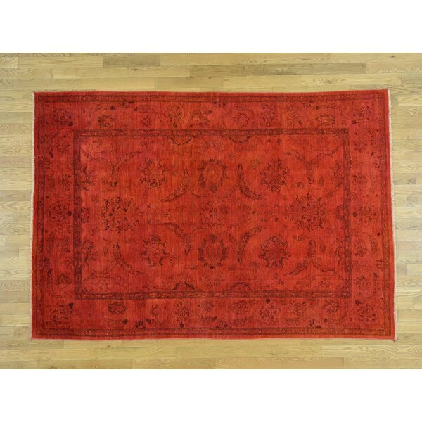 One-of-a-Kind Beaumont Overdyed Handwoven Red Wool Area Rug by Isabelline