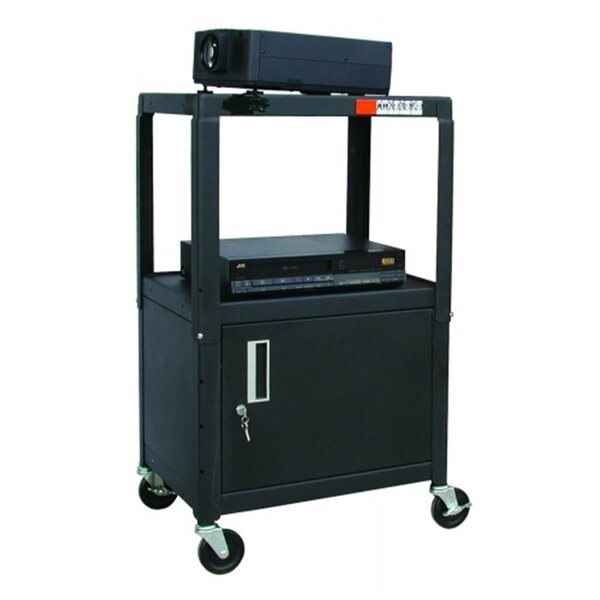 Adjustable Steel AV Cart with Locking Cabinet by Hamilton Buhl