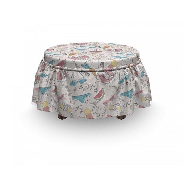 Teen Room Summer Graphic 2 Piece Box Cushion Ottoman Slipcover Set By East Urban Home
