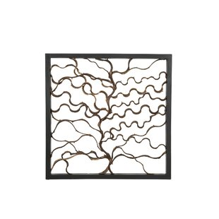 Square Bauhinia Branches And Teak Wood Wall Decor