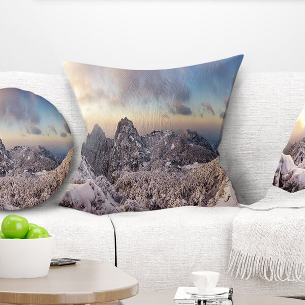 Landscape Wall Huangshan Hill Snow in Winter Pillow by East Urban Home
