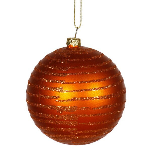 Glitter Striped Shatterproof Christmas Ball Orname