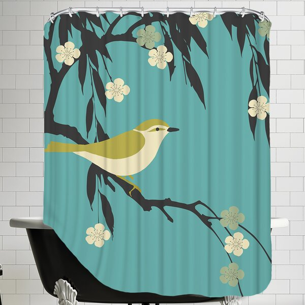 Bird on Branch Shower Curtain by East Urban Home