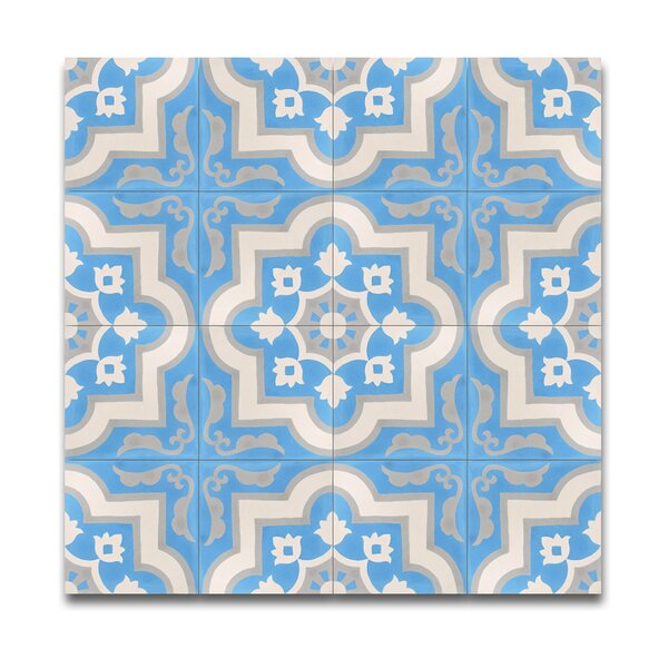Taza  8 x 8 Handmade Cement Tile in Blue/White by Moroccan Mosaic