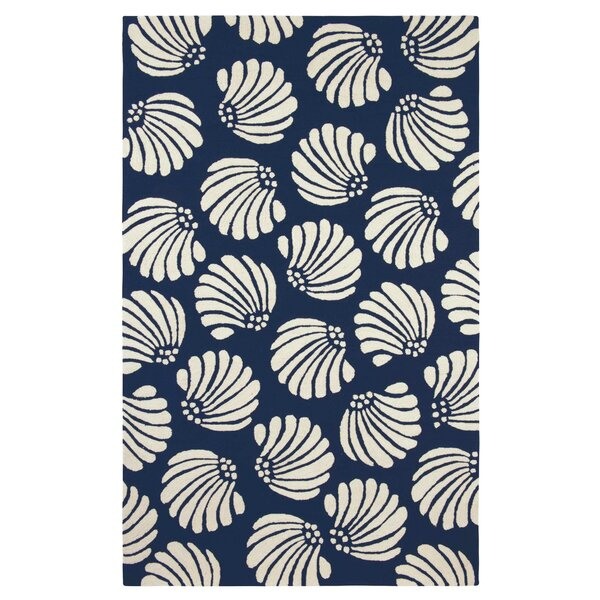 Coquille Hand-Hooked Navy Indoor/Outdoor Area Rug by CompanyC