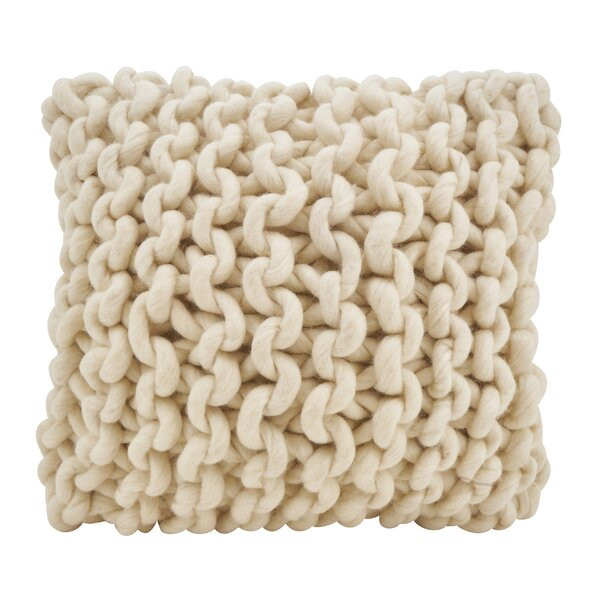 Boykins Chunky Cable Knit Wool Throw Pillow by Greyleigh