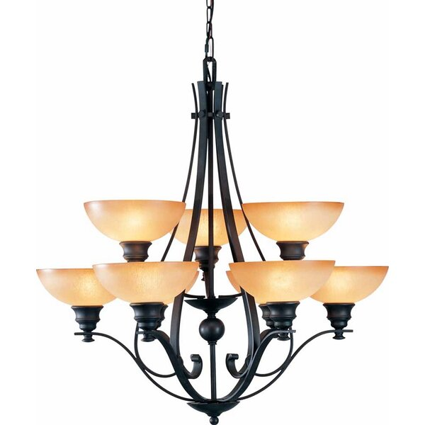Rainier 9-Light Shaded Tiered Chandelier by Volume Lighting Volume Lighting