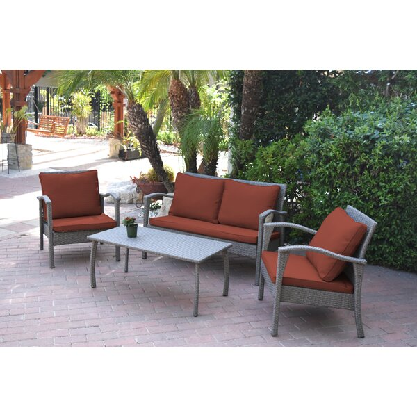 Aviana 4 Piece Rattan Multiple Chairs Seating Group with Cushions by Bay Isle Home