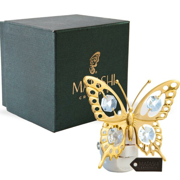 24K Gold Plated Crystal Studded Butterfly LED Night Light by Matashi Crystal