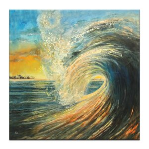 Last Wave by Jennifer Webb Framed Painting Print on Wrapped Canvas by Artist Lane