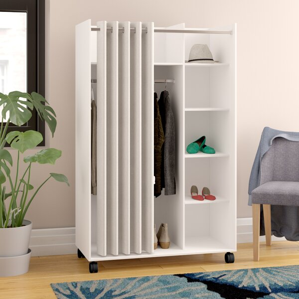 Loke Mobile Curtain Storage Center Armoire by Ebern Designs