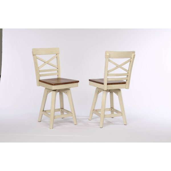 Yvonne X Back 2 Tone Swivel Bar Stool (Set of 2) by Gracie Oaks