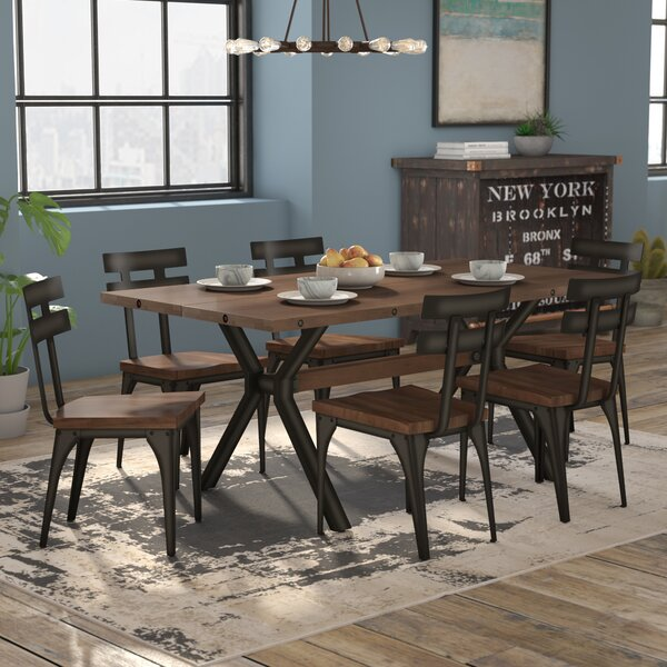 Darcelle 7 Piece Distressed Dining Set by 17 Stories