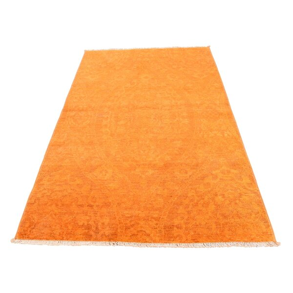 One-of-a-Kind Perlman Overdyed Peshawar Oriental Hand-Knotted Orange Area Rug by World Menagerie