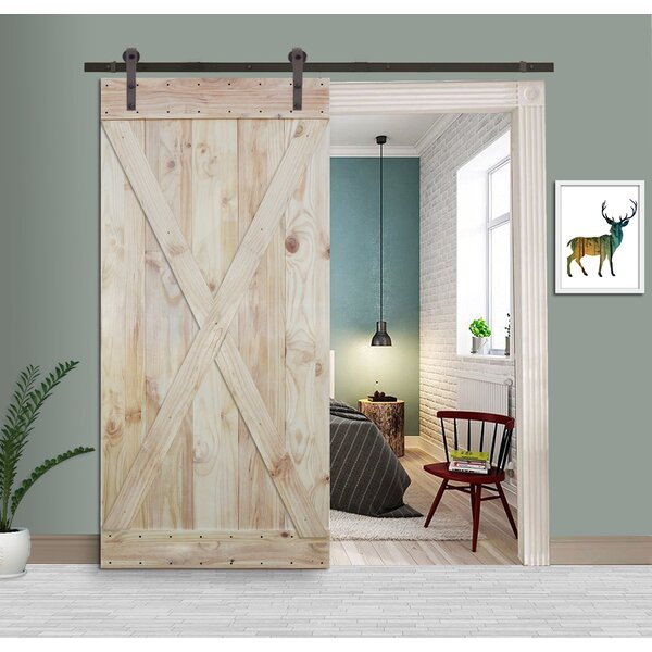 Two Side X Solid Wood Panelled Knotty Pine Slab Interior Barn Door by Calhome