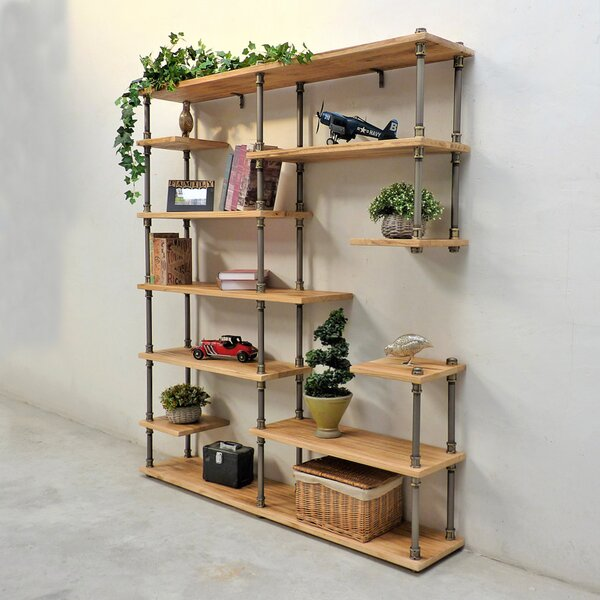 Cirillo Industrial Mid-Century Etagere Bookcase by Williston Forge