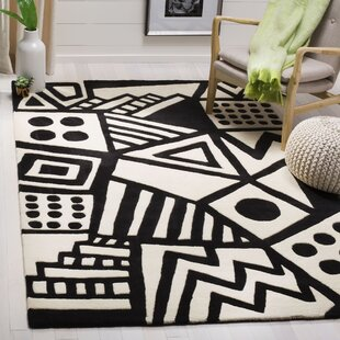 Top Reviews Bunch Hand Tufted Wool Ivory/Black Area Rug By Trule Teen