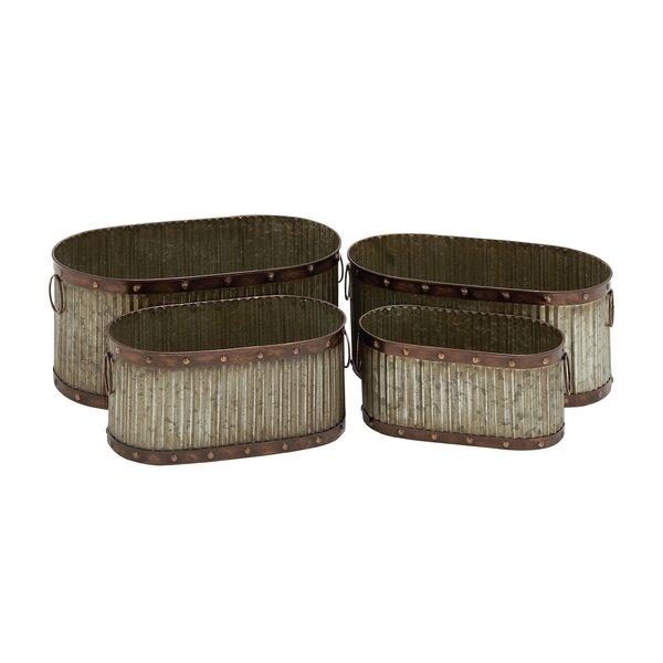 4-Piece Tin Pot Planter Set by Cole & Grey