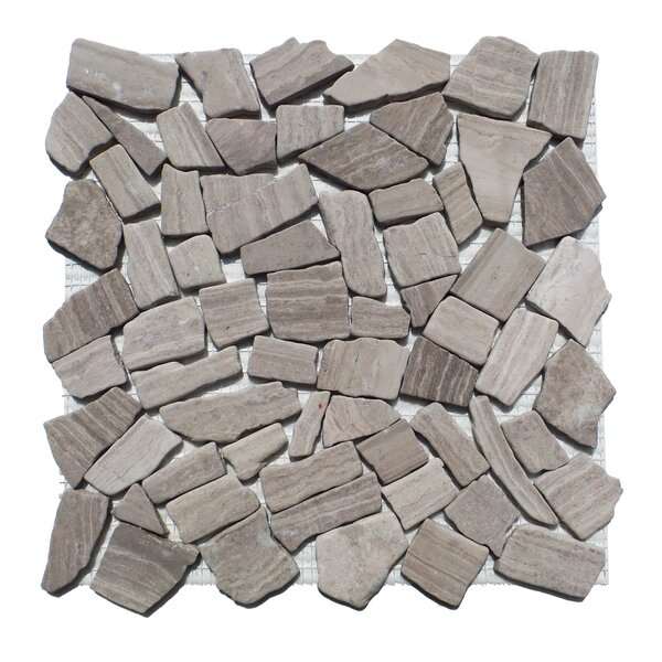 Horizon Random Sized Engineered Stone Pebble Tile in Gray by Mulia Tile