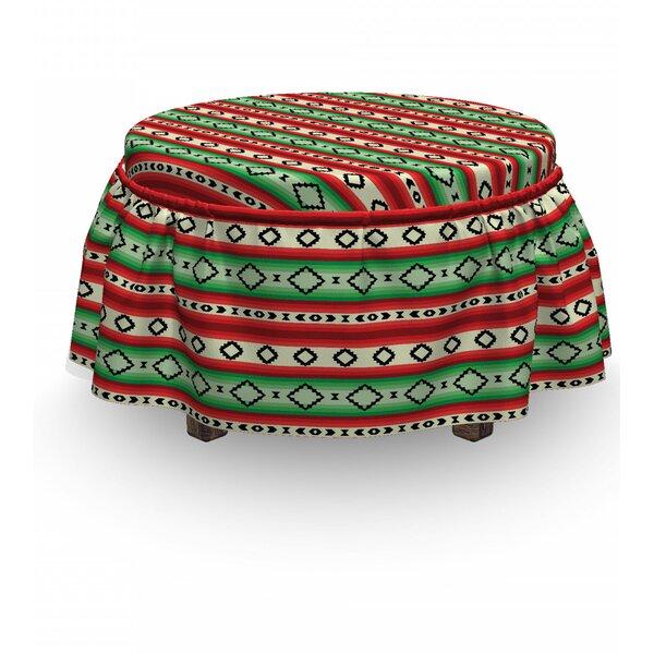Fiesta Mexican Blanket 2 Piece Box Cushion Ottoman Slipcover Set By East Urban Home