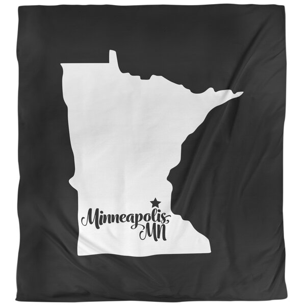 Minneapolis Mn Duvet Cover - Brushed Polyester in , Queen (88 x 88) in , Black