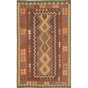 One-of-a-Kind Alanna Handwoven Flatweave 4'7 x 8' Wool Dark Copper Area Rug by Millwood Pines