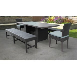 Belle Outdoor 5 Piece Dining Set with Cushions By TK Classics