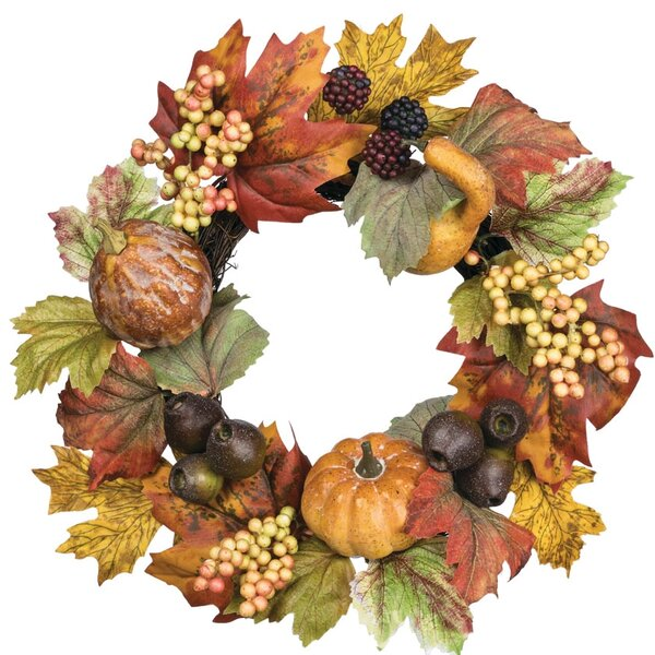 Autumn Pumpkin Gourd and Pod Accent 14 Polyester Wreath by August Grove