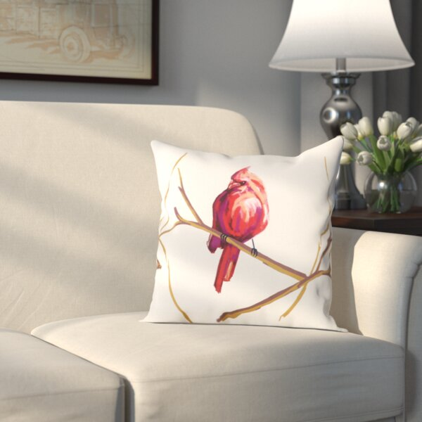 Hamburg Cardinal Print Throw Pillow by Three Posts