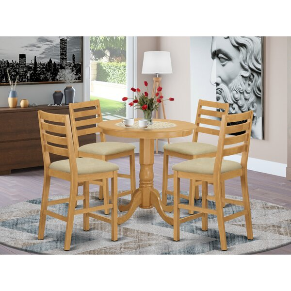 Speights 5 - Piece Rubberwood Solid Wood Dining Set by Charlton Home Charlton Home