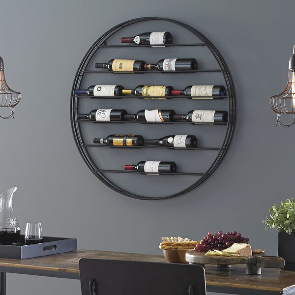 Label View 12 Bottle Wall Mounted Wine Bottle Rack By Wine Enthusiast