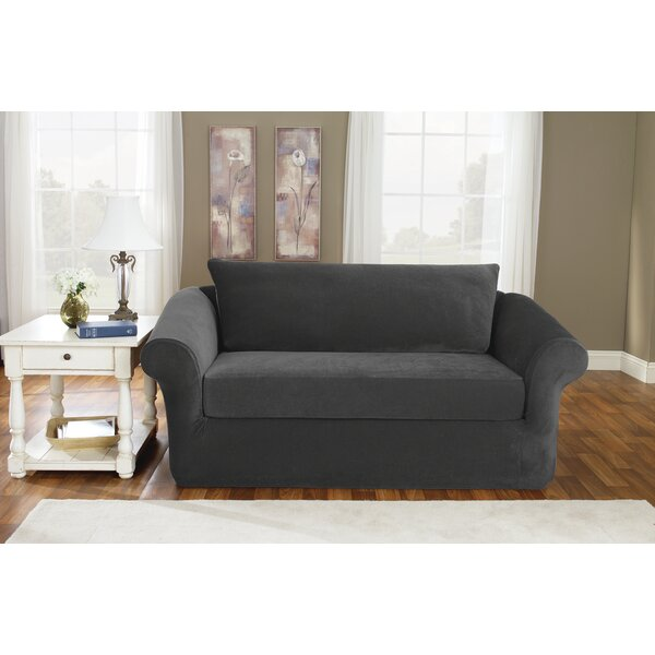 Stretch Pique Box Cushion Loveseat Slipcover by Sure Fit