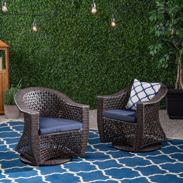 Hoopes Patio Chair with Cushions (Set of 2) by August Grove